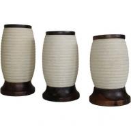 Sandstone & Wood Barrel Candle Holder - Set of 3