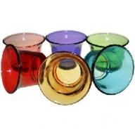 6x Glass Votive Candle Holder - Asst Colours