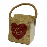Sm Sq Cotton & Jute Door Stop - Heart Love