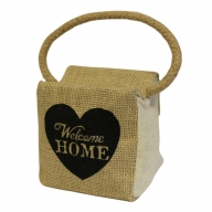 Sm Sq Cotton & Jute Door Stop - Welcome Home