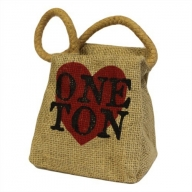Sm Jute Ton Shape Door Stop - Heart ONE TON