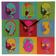 Ted Smith Pop Art Skulls Picture Clock
