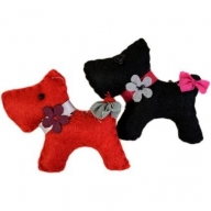 2x Smart Dogs Felt Brooches