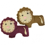 2x Lucky Lions Felt Brooches