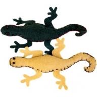 2x Lizards Felt Brooches