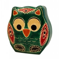Leather Money Box - Sml Green Owl