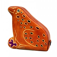 Leather Money Box - Small Brown Frog