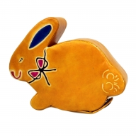 Leather Money Box - Sml Yellow Bunny
