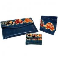 Leather Purse Set - Elephants - Teal