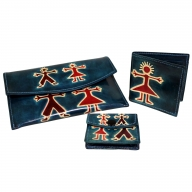 Leather Purse Set - Boy & Girl - Teal