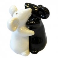 Salt & Pepper - Hugging Mice - Black & White