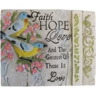 Wise Word Plaque Lrg - Faith, Hope, Love