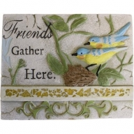 Wise Word Plaque Lrg - Friends Gather Here
