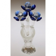 Crystal Flower in Crystal Vase (Blue)