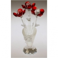 Crystal Flower in Crystal Vase (Red)