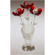 Crystal Flower in Crystal Vase (Red)