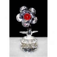 Single Crystal Flower on Crystal (Red)