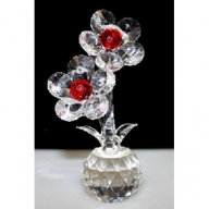 Two Crystal Flowers on Crystal (Red)