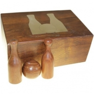 Large Twelve Piece Bowling Set in Wooden Box