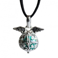 Angel Wings & Bell - Teal