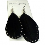 Feather Earring - Black & Diamante