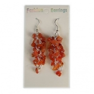 Gemstone Cluster Earrings - Carnelian