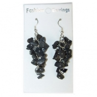 Gemstone Cluster Earrings - Black Agate