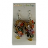 Gemstone Cluster Earrings - Multi