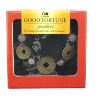 Good Fortune Bracelet - Rose Quartz and Coins