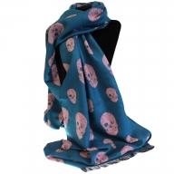 Unisex Rich Kid Skull Scarf - Teal & Pink