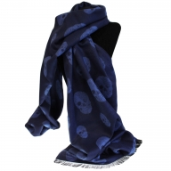 Unisex Rich Kid Skull Scarf - Navy & Blue