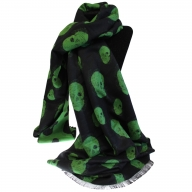 Unisex Rich Kid Skull Scarf - Black & Green