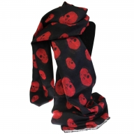 Unisex Rich Kid Skull Scarf - Black & Red