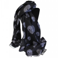 Unisex Rich Kid Skull Scarf - Black & Grey