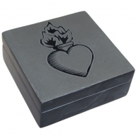 Lucky Stone Box - Flaming Heart