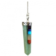 Green Adventurine Pendulum - 7 Chakra Bounded Thin Point