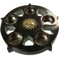 Stone Black Sun Candle Plate