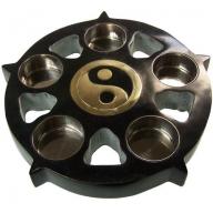 Stone Black Yin & Yang Candle Plate