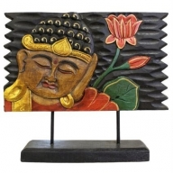 Lrg Buddha STAND Black with Lotus