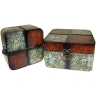 Set of 2 Boxes - Small Walnut Floral