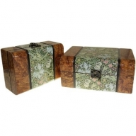 Set of 2 Boxes - Med Walnut Floral
