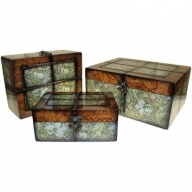 Set of 3 Boxes - Lrg Walnut Floral