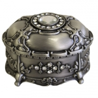Jewellery Casket - Oval with Crystals