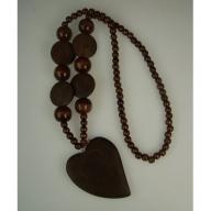 Monkey Wood Heart Pendant - Ebony
