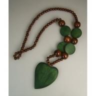 Monkey Wood Heart Pendant - Emerald