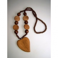 Monkey Wood Heart Pendant - Tan