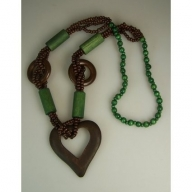 Monkey Wood Heart Necklaces - Emerald