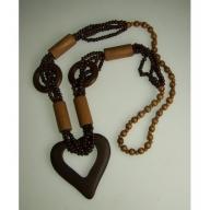 Monkey Wood Heart Necklaces - Tan