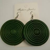 Monkey Wood Earrings - Emerald