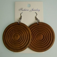 Monkey Wood Earrings - Tan